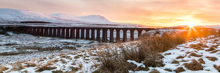 Sunset over the Ribblehead viaduct