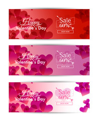 Valentine's Day sale for Social media banner template set. Romantic Red,Pink and white background. Design on 851 x 315 pixels. vector illustration
