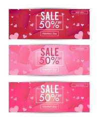 Valentine's Day sale for Social media banner template Set. Romantic Red,Pink background. Design base on 851 x 315 pixels. vector illustration