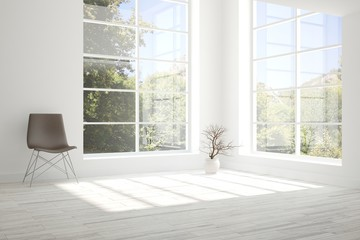 Idea of white room with chair and summer landscape in window. Scandinavian interior design. 3D illustration