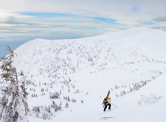 Alpine touring skier hiking in winter mountains.