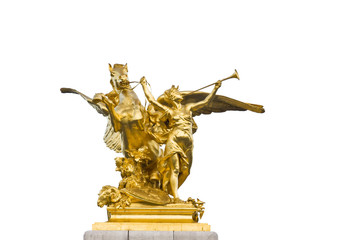Sculpture detail of Fame restraining Pegasus on Pont Alexandre III bridge in Paris France isolated on white background