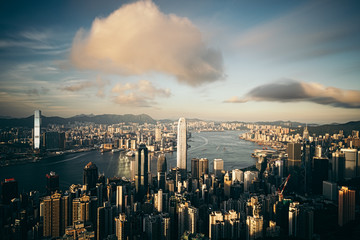 Wall Mural - Panorama of Hong Kong City skyline before sunset