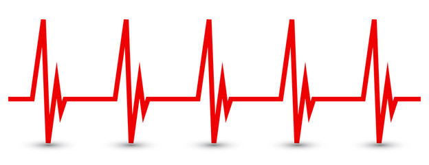 Heart pulse, one line, cardiogram - vector for stock
