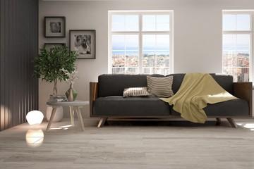 Idea of white room with sofa and urban landscape in window. Scandinavian interior design. 3D illustration