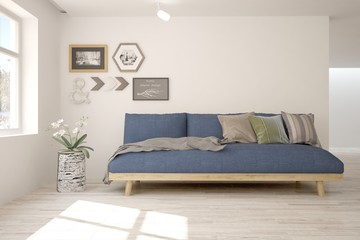 Idea of white minimalist room with blue sofa. Scandinavian interior design. 3D illustration