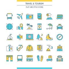 Flat line design travel icons