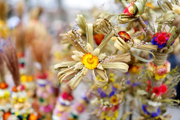 Traditional Lithuanian Easter palms known as verbos sold on Easter market in Vilnius