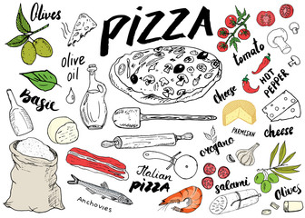 Pizza menu hand drawn sketch set. Pizza preparation design template with cheese, olives, salami, mushrooms, tomatoes, flour and other ingredients. vector illustration isolated on white background