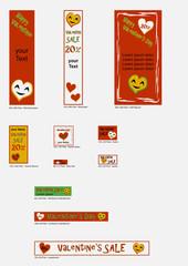 Banner Vorlagen für Valentin in freundlichen farben. Vektor Illustration