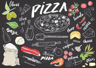 Pizza menu hand drawn sketch set. Pizza preparation design template with cheese, olives, salami, mushrooms, tomatoes, flour and other ingredients. vector illustration on chalkboard background