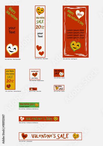 Banner Vorlagen für Valentin in freundlichen farben. Vektor ...