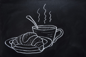 Freehand Drawn French Croissant on Plate Cup of Hot Steaming Coffee Chocolate Tea with Spoon Chalk Crayon Illustration on Blackboard. Sketch Doodle Style Food Poster Banner Template for Menu