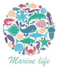 Marine life icons in the form of a circle