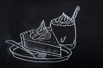 Freehand Drawing with Chalk on Blackboard of Piece of Pumpkin Pie with Whipped Cream Topping on Plate with Fork. Glass of Spice Latte. Thanksgiving Autumn Fall Dessert.Sketch Doodle Style Food