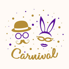 Poster with funny costumes for Carnival Party. Vector.