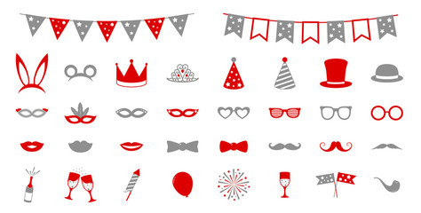 Funny icons for carnival party, birthday party or photobooth. Vector.