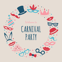 Carnival Party - poster with funny masks. Vector.