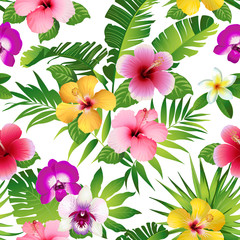 Tropical flowers and leaves on white background. Seamless. Vector.