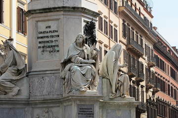 Biblical Statues at Base of Colonna dell'Imacolata in Rome, Italy