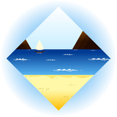 Image of a beach in the shape of a diamond, an icon for the design of a travel agency website, for the site