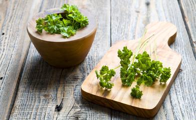 Fresh parsley on wood