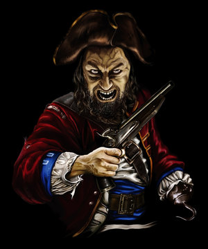 pirate zombie with a gun and a hook in the hat, threatening on black background
