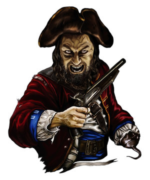 pirate zombie with a gun and a hook in the hat, threatening on white background