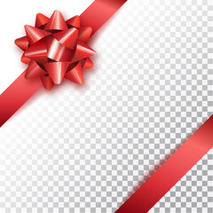 Red bow for packing gifts. Realistic vector illustration on tran