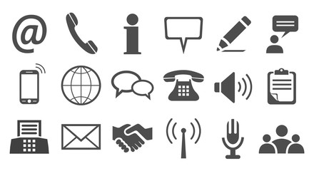 Grey contact icons - vector for stock