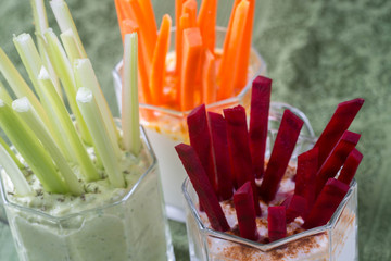 raw vegetables snacks with dip