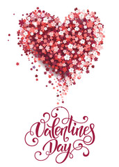 Beautiful floral heart with lettering. Valentine card. Vector illustration EPS10.