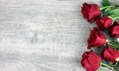 Beautiful Red Roses Still Life Over Rustic Wooden Background, Love Concept, Shot From Above