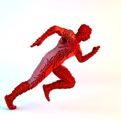 Running voxel man on a white background