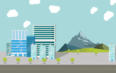 City skyscrapers. Salted trees over over the gift. Ilustration and style, road. Work office and mansion complexes, for comfortable housing. Landscape mountains, trees and grass for travel and walks.