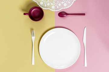 White round plate and cutlery on a light pink-green background..