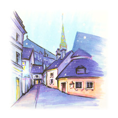 Color hand drawing, Typical street and church in Old Town of Riga, Latvia. Picture made liner and markers
