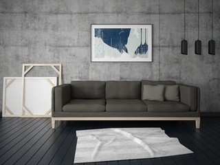 Mock up a modern living room with a comfortable sofa and hipster background.