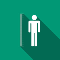 Measuring height body icon isolated with long shadow. Flat design. Vector Illustration