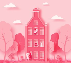Happy Valentine's day 3d abstract paper cut illustration of pink paper art landscape with paper cut couple, house,