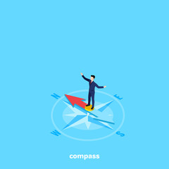 a man in a business suit stands on a compass needle, an isometric image