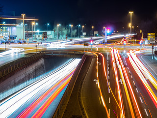 car traffic at night in neu-ulm, germany
