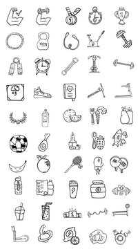 set of 50 icons, healthy lifestyle,  fitness equipment, workout in the gym, healthy food, vector image, doodles style