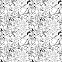 Pizza seamless pattern hand drawn sketch. Pizza Doodles Food background with flour and other food ingredient