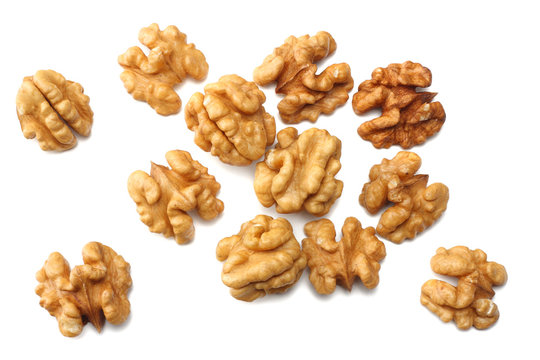 Walnuts isolated on white background top view