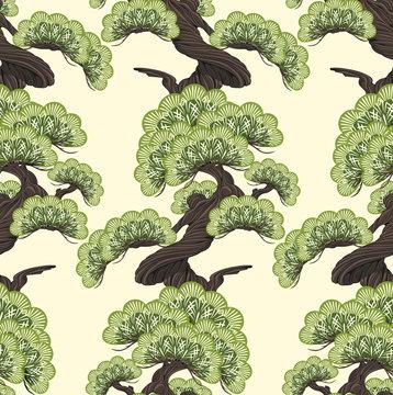 Bonsai pine decorative small tree  seamless pattern