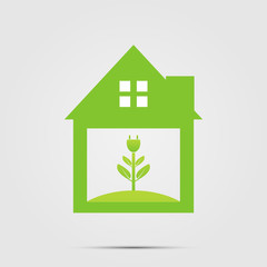 Ecological symbol of a green home socket or green logo.