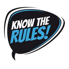 know the rules retro speech bubble