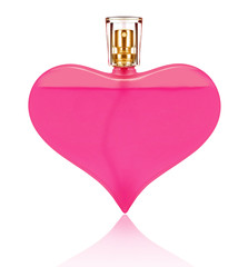 Perfume bottle in the shape of a heart close-up, isolated on a white background
