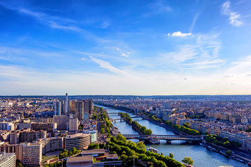 Scenic panorama of Paris from Eiffel's tower